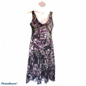 Alfani purple black floral dress sleeveless Sz 12
